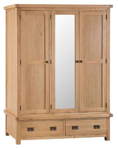 Chelmsford Oak Triple Wardrobe With Drawers